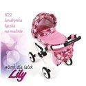 Коляска для ляльки Adbor Lily K22 рожевий квіти на малиновому