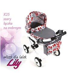 Коляска для ляльки Adbor Lily K25 сірий квіти на срібному