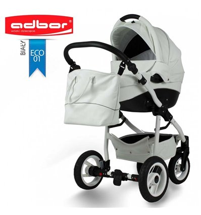 Дитяча коляска 2 в 1 Adbor Nemo Exclusive 01 еко-шкіра біла