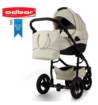 Дитяча коляска 3 в 1 Adbor Nemo Exclusive 02 еко-шкіра бежева