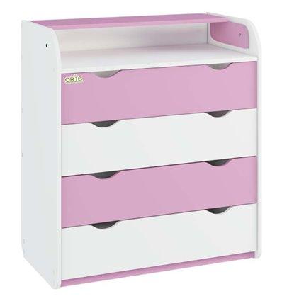 Комод-пеленатор Oris NEW на 4 шухляди 001 біло-рожевий