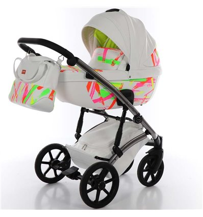 Дитяча коляска 2 в 1 Tako Neon 01 біла, срібна рама