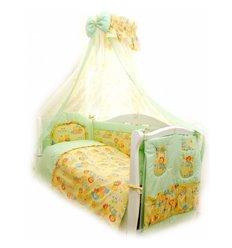 Дитячий постільний комплект Twins Standart 8 эл. C-012 Пухнасті ведмедики зелений