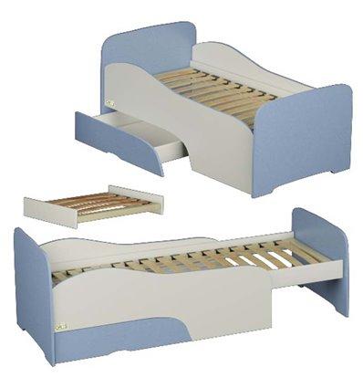 Підліткове ліжечко трансформер Oris Flora біло-голубе