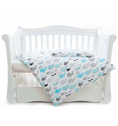 Дитяча змінна постіль Twins Comfort Line C-053 Риба кит блакитний
