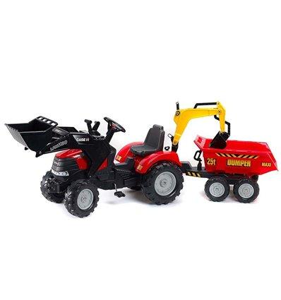 Трактор педальний з причіпом і 2 ковшами Falk 995W CASE IH PUMA