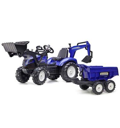 Трактор педальний з причіпом і 2 ковшами Falk 3090W New Holland