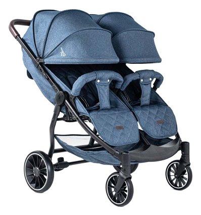 Прогулянкова коляска для двійні BubaGo Model Q Duo Blue