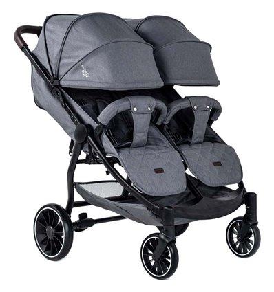 Прогулянкова коляска для двійні BubaGo Model Q Duo Grey