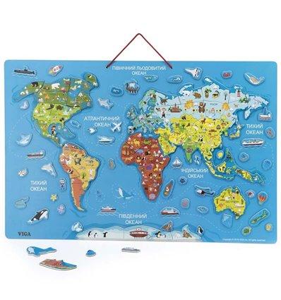 Пазл магнітний Viga Toys Карта світу з маркерною дошкою, українською мовою (44508)