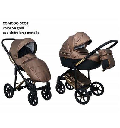 Дитяча коляска 2 в 1 Mikrus Comodo Mio Scot 54 brown metalic