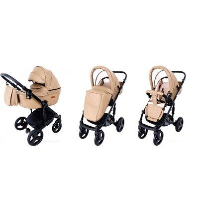 Дитяча коляска 2 в 1 Mikrus Genua 22 бежева еко-шкіра