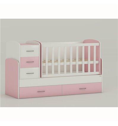 Дитяче ліжко-трансформер Oris Maya біло-рожевий