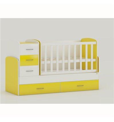 Дитяче ліжко-трансформер Oris Maya біло-жовтий