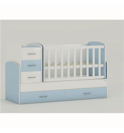 Дитяче ліжко-трансформер Oris Maya біло-блакитний