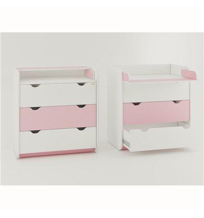 Комод-пеленатор Oris на 3 ящики біло-рожевий