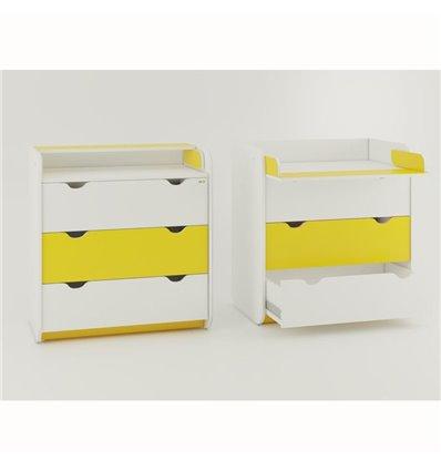 Комод-пеленатор Oris на 3 ящики біло-жовтий