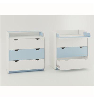 Комод-пеленатор Oris на 3 ящики біло-блакитний
