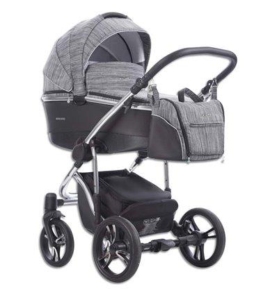 Дитяча коляска 2 в 1 Bebetto Bresso Premium Silver 02 сіра