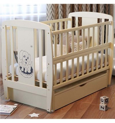 Дитяче ліжечко Дубик-М Песик слонова кістка